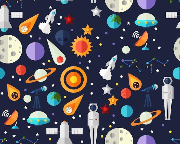 ベクトルフラットシームレステクスチャパターン宇宙探査。 Premiumベクター
