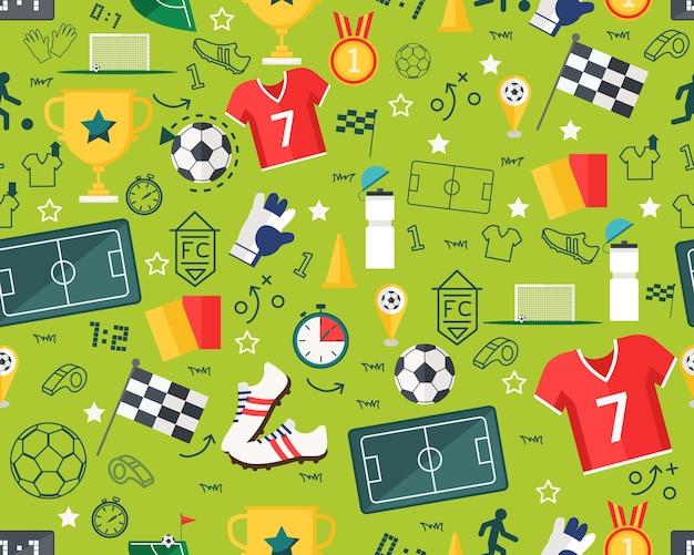 Vector flat seamless texture pattern sport soccer . Premium Vector
