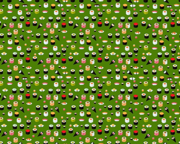 Vector flat seamless texture pattern sushi collection. Premium Vector