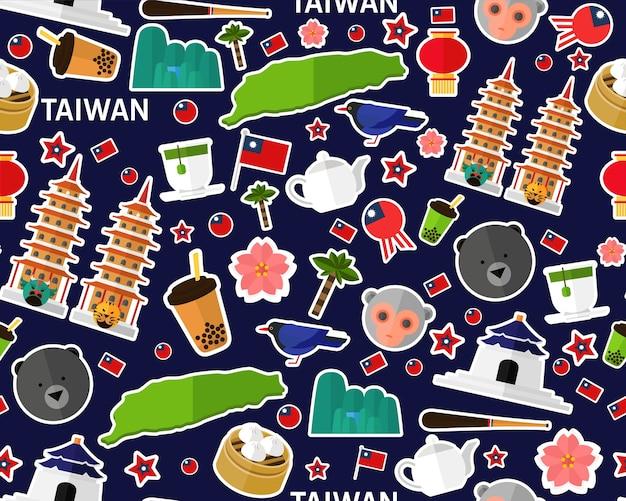 Vector flat seamless texture pattern taiwan Premium Vector
