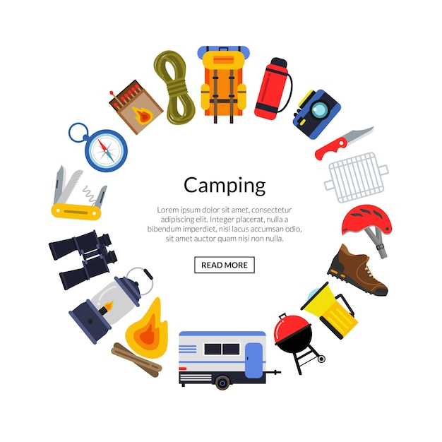 Vector flat style camping elements in circle form with place for text in center round illustration Premium Vector