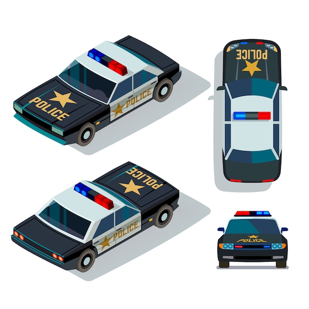 Vector flat-style cars in different views. isometric police car transport patrol top and front view illustration Premium Vector
