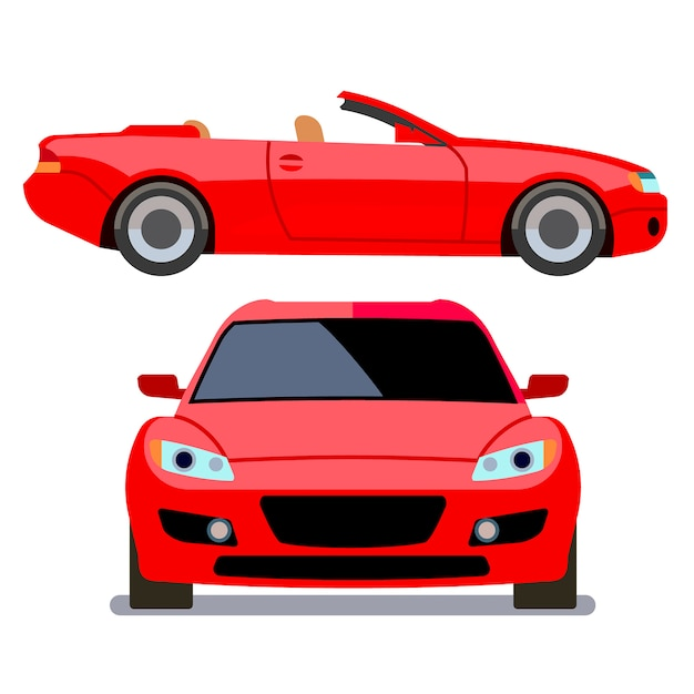 Vector flat-style cars in different views. red cabriolet transport, illustration of modern machine Premium Vector