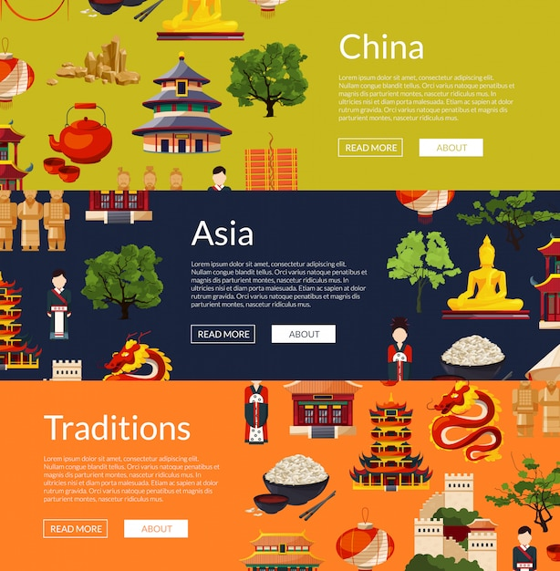 Vector flat style china elements and sights horizontal web banners illustration Premium Vector