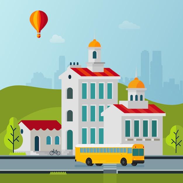 Vector flat style cityscape buildings illustration Premium Vector