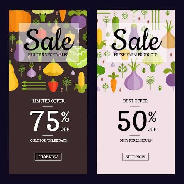 Vector flat vegetables vegan shop sale flyer, banner templates. illustration of card sale vegan Premium Vector