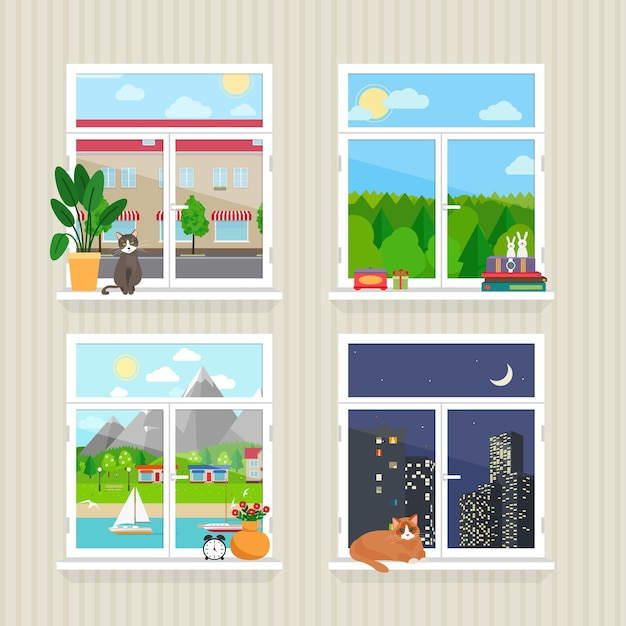 풍경 벡터 평면 창입니다. 마을과 마천루, 숲과 고양이, 낮과 밤 무료 벡터