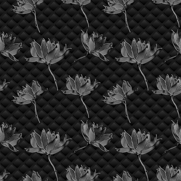 Sfondo floreale vettoriale. fiori grafici sul nero Vettore gratuito