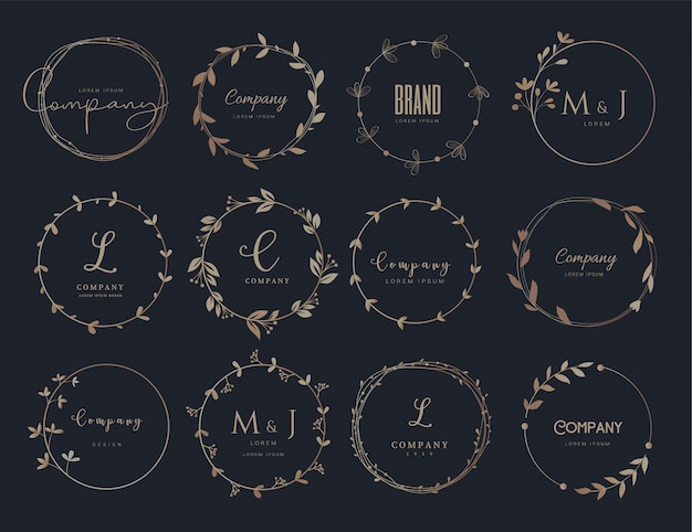 Vector floral border and logo design templates hand drawn style. Premium Vector