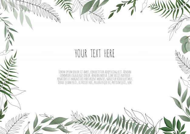 Vector floral botanical card design with leaves Premium Vector