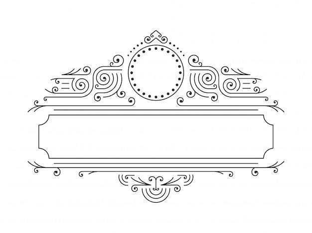 Vector floral frames in mono line style Premium Vector