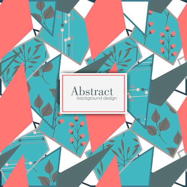 Vector floral geometric background. Free Vector