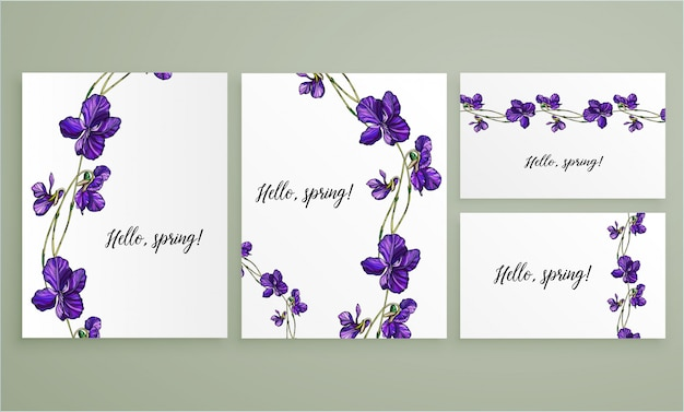 Vector floral greeting card set with violets flowers. Premium Vector