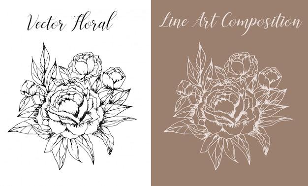 Vector floral line art Premium Vector