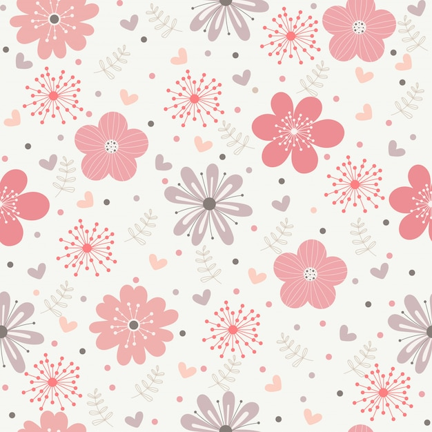Vector floral pattern in doodle style Premium Vector