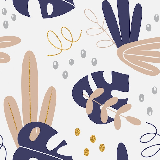 Vector floral pattern with tropic leaves and hand drawing elements Premium Vector