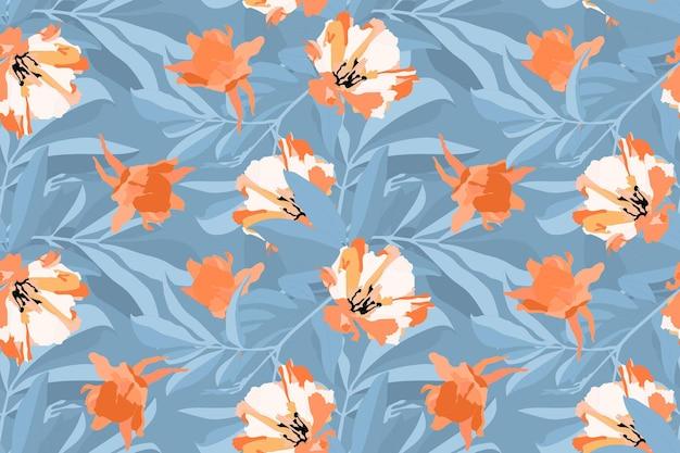 ベクトル花のシームレスなパターン。オレンジ、白い花、青い背景に分離された青い葉。あらゆる表面の装飾デザインに。 Premiumベクター