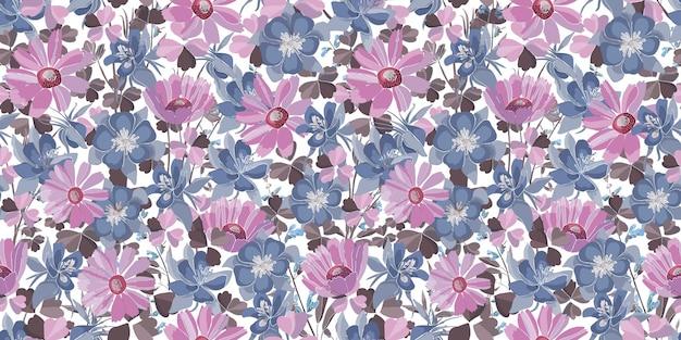 벡터 꽃 완벽 한 패턴입니다. 파스텔 꽃과 잎. 분홍색, 파란색, 보라색 꽃 요소 흰색 배경에 고립. 모든 표면의 장식 디자인 용. 프리미엄 벡터