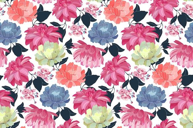 ベクトル花のシームレスなパターン。ピンク、青、黄色、珊瑚色の花、白い背景で隔離の青い葉。 Premiumベクター