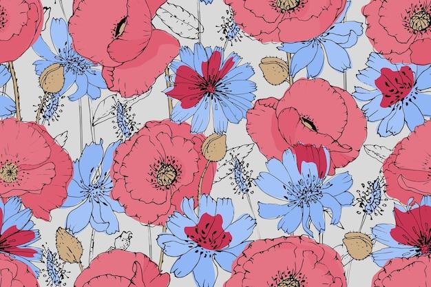 ベクトル花のシームレスなパターン。ピンク、赤のポピー、青のチコリ。夏の花。 Premiumベクター
