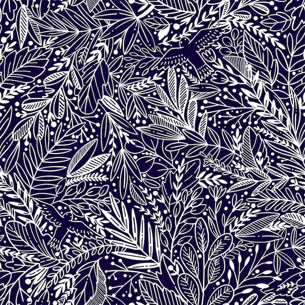 Vector floral seamless pattern with exotik leaves and birds Premium Vector