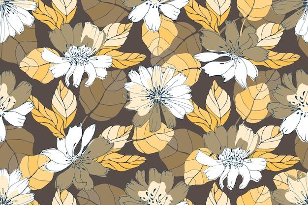 ベクトル花のシームレスなパターン。黄色、白、茶色の花 Premiumベクター