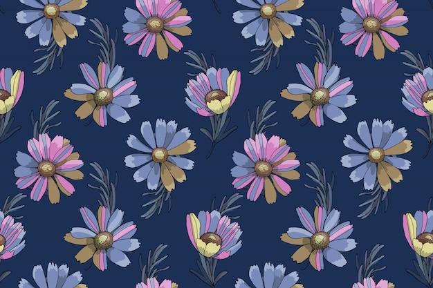 ベクターの花のシームレスなパターン Premiumベクター