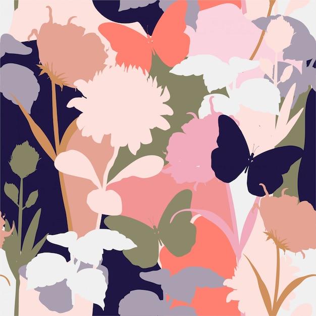 Vector floral seamless pattern. Premium Vector