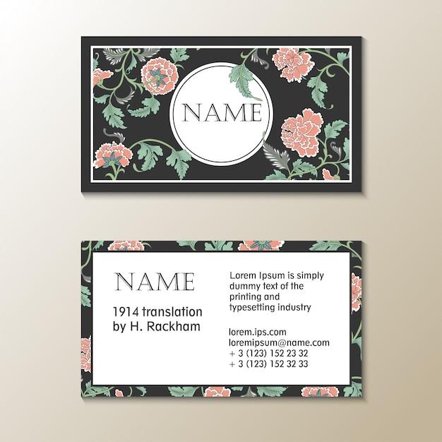 Vector floral visit card template Premium Vector
