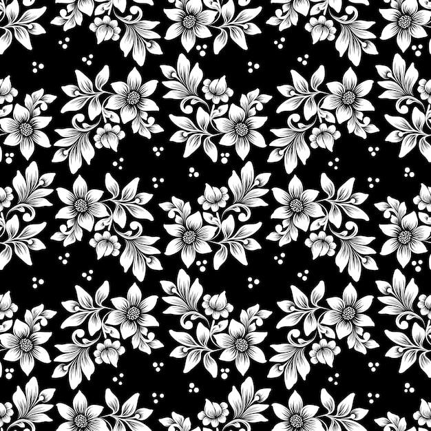 벡터 꽃 원활한 패턴 배경입니다. 배경에 대한 우아한 질감. 클래식 럭셔리 구식 꽃 장식, 벽지, 섬유, 포장을위한 매끄러운 질감. 무료 벡터