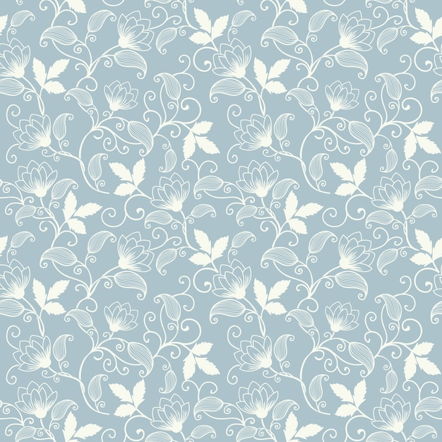 Vector flower seamless pattern background. Elegant texture for backgrounds.  Classical luxury old fashioned floral