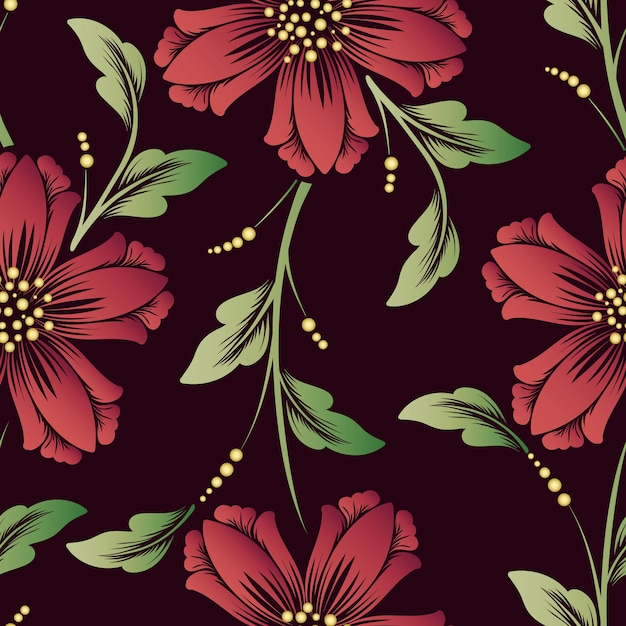 Vector flower seamless pattern element. elegant texture for backgrounds. classical luxury old fashioned floral ornament, seamless texture for wallpapers, textile, wrapping. Free Vector