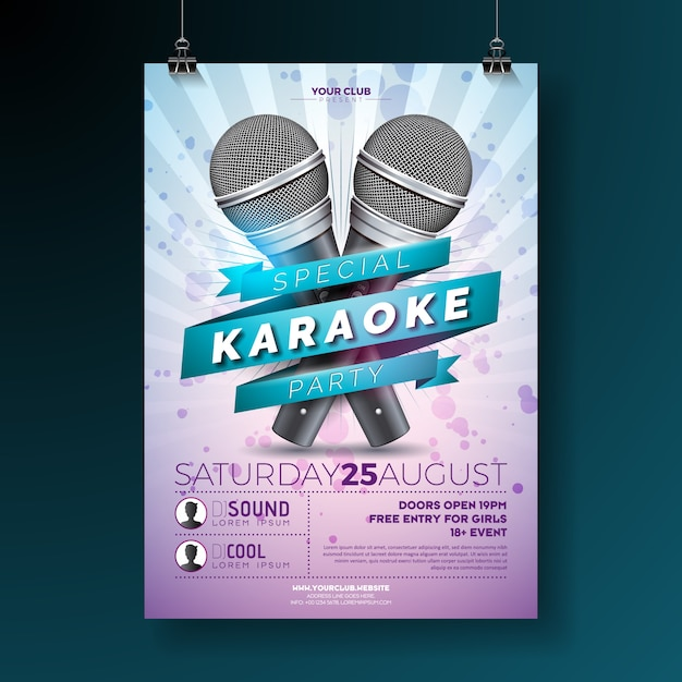 Vector flyer for a karaoke party theme with microphones Premium Vector