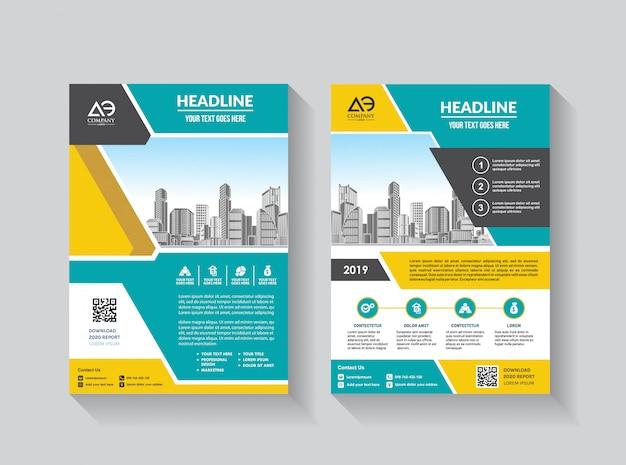 ビジネスパンフレット年次報告書のベクトルチラシテンプレートレイアウト設計 Premiumベクター