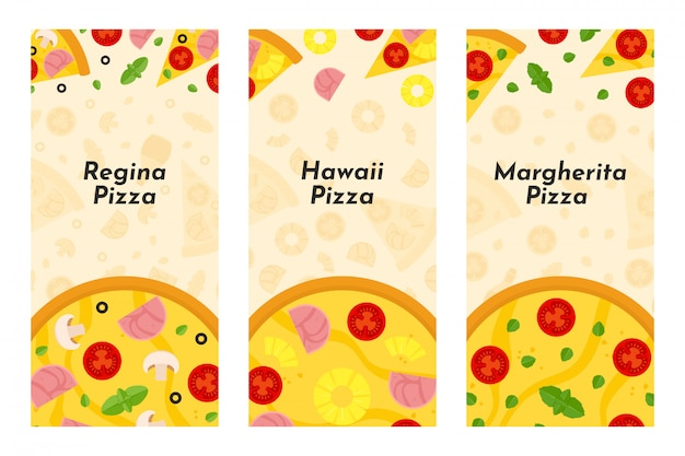 Vector flyers of pizza and pizzeria Premium Vector