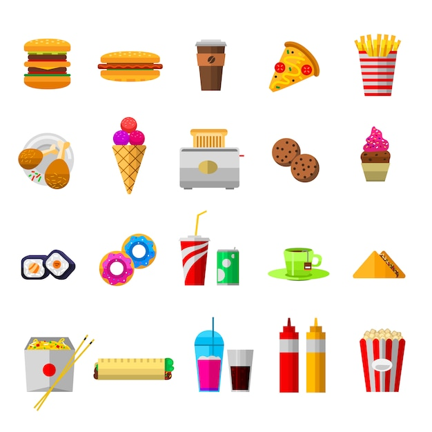 Vector food icons, sweet fast food elements Premium Vector