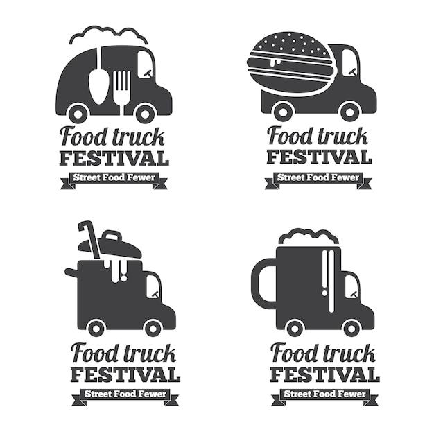 ベクターフードトラックのロゴ、エンブレム、バッジ。ラベルのエンブレム、レストラン、カフェの車のイラスト 無料ベクター