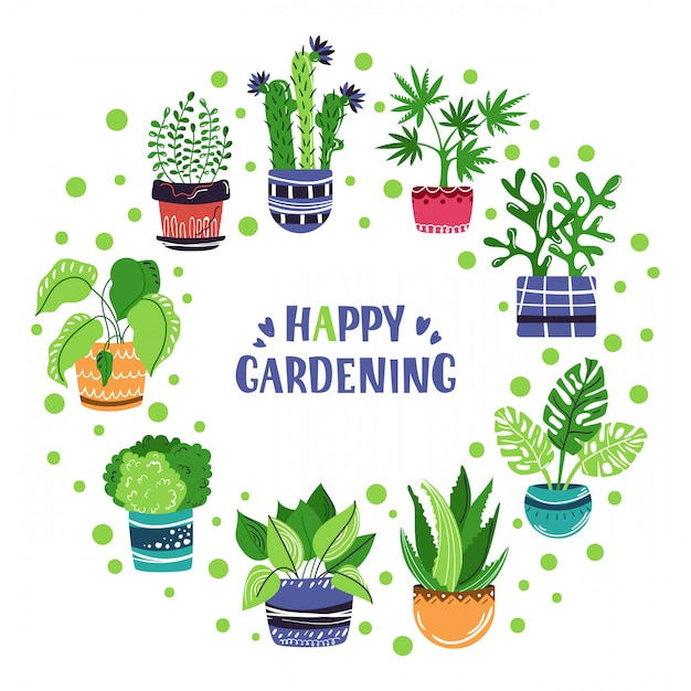 Vector frame of cartoon house potted plants. lettering Premium Vector