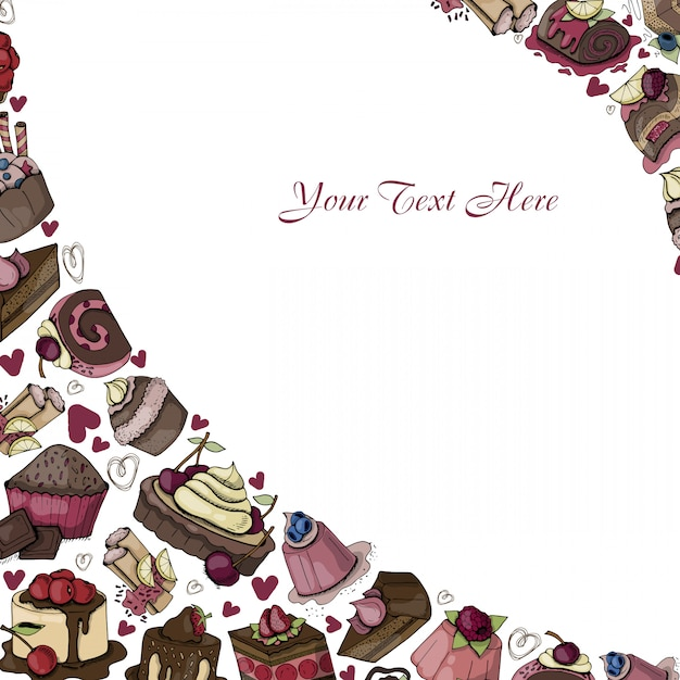 Vector frame of sweets, deserts, cakes, cartoon food Premium Vector