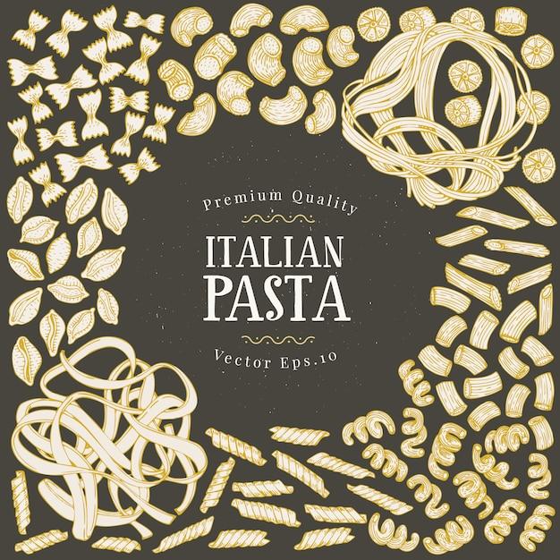 Вектор кадр с различными типами традиционной итальянской пасты. Premium векторы