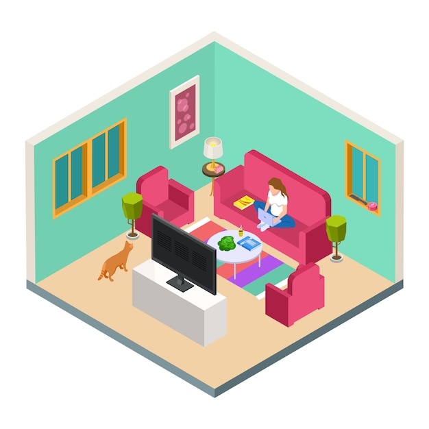Vector freelance, remote work isometric concept. woman work from home in living room Premium Vector