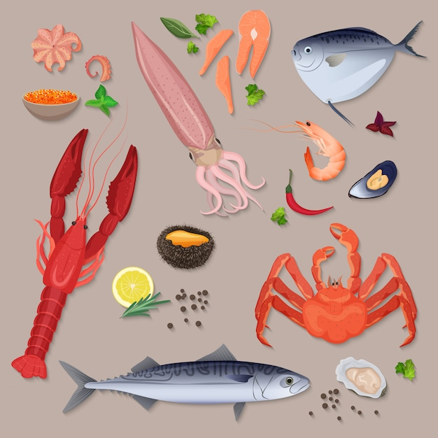 Vector fresh seafood with spices icons collection set. Premium Vector
