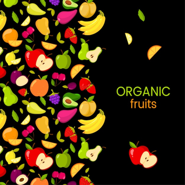Vector fruits frame isolated on black background. organic fruits Premium Vector