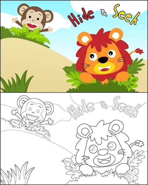 Vector of funny animals cartoon play hide and seek Premium Vector
