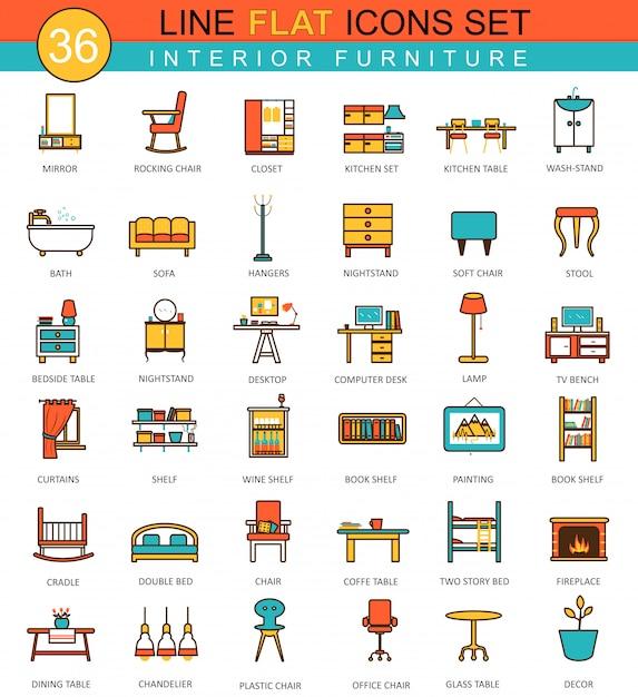 Vector furniture flat line icons set Premium Vector