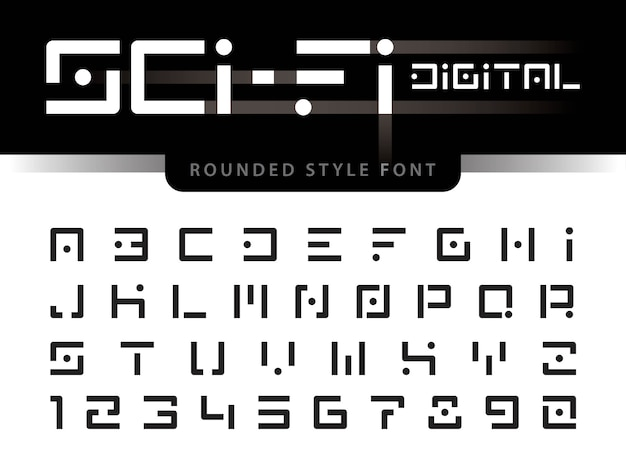 Vector of futuristic alphabet letters and numbers Premium Vector