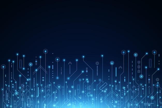 Векторный фон футуристические технологии, электронная материнская плата, коммуникационная и инженерная концепция Premium векторы