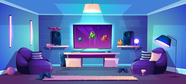 Vector game room illustration, modern esports concept Free Vector