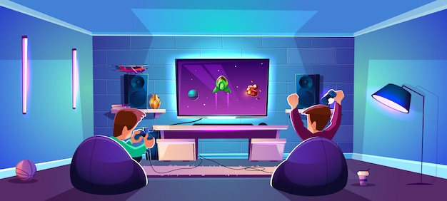Vector game room with people playing digital entertainment, modern esports concept Free Vector