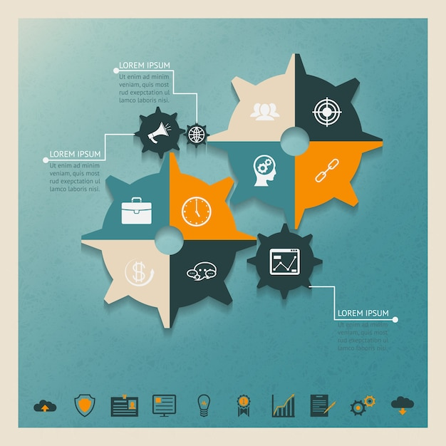 Vector gears infographics business concept with icons ant text place Premium Vector